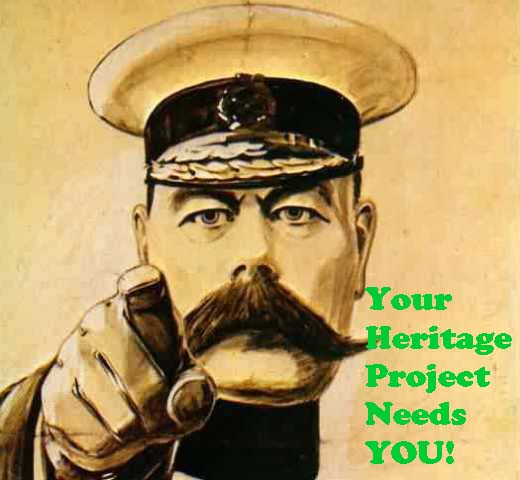 WWI style recruiting poster, with picture of soldier pointing and the caption 'Your heritage project needs you'
