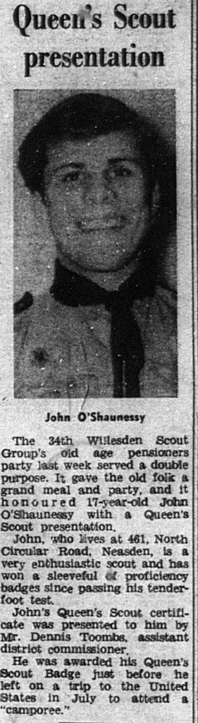 Newspaper clipping with photo of young scout